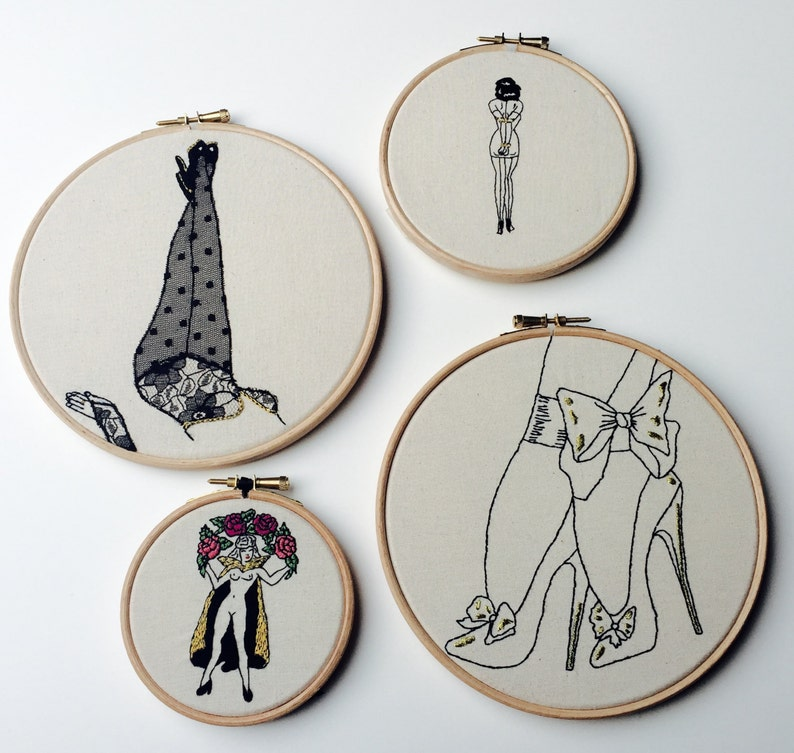 suitable for beginner The Black and Gold Bow Stilettos Bizarre Pin-Up Modern EMBROIDERY KIT
