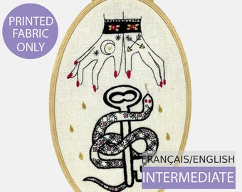 Modern Embroidery Pattern,Pre-printed on fabric, Tutorial in English or French. Raining Tears of Gold. Hand embroidery. Intermediate level