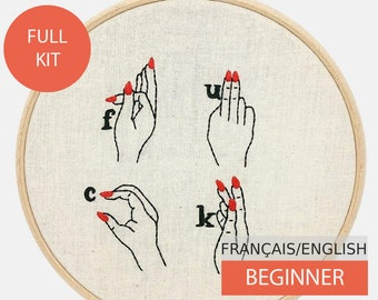 Modern Embroidery Kit, DIY kit,  Hand embroidery pattern - Tutorial in English or in French.  F........ Word Sign Language. Beginner