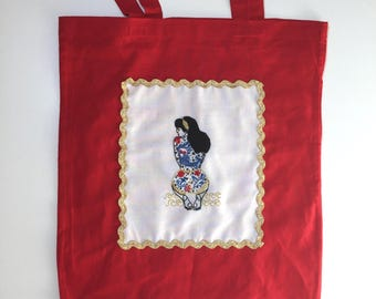 Embroidery KIT TOTE BAG Summer Tattooed Lady