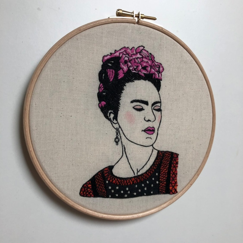 Pre-printed on Fabric with tutorial Frida Advanced level you are magic Hand embroidery Modern Embroidery Pattern English or French