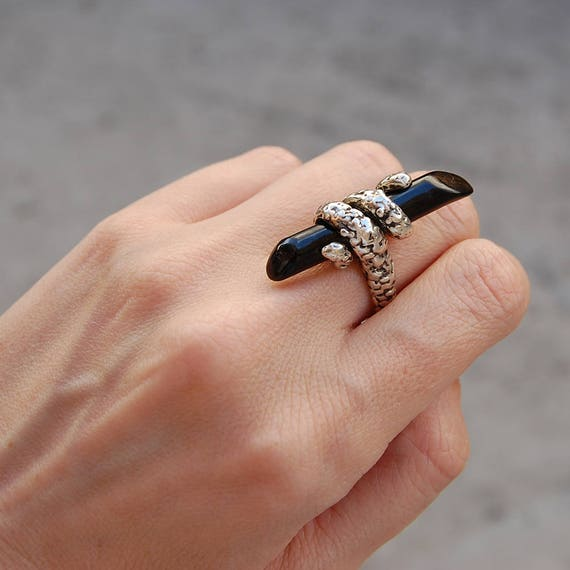 Statement ring Kreitto jewels Handmade ring Black coral Stunning ring Statement Black coral ring Gift for her Sterling silver ring