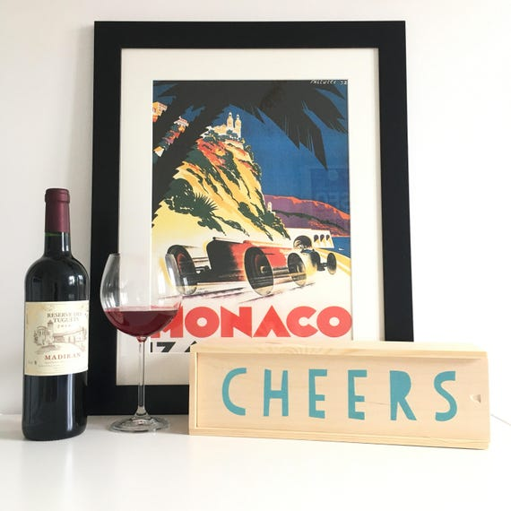 Wine Box Presentation Cheers Gift Birthday Present Housewarming Wooden Birch Screen Print Wedding