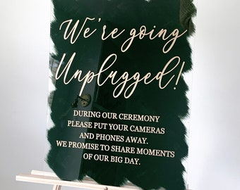 Unplugged Ceremony Acrylic Wedding Sign Welcome Wedding Sign Clear Wedding Signage Wedding Sign Plexi Glass FF13P 03-039-051