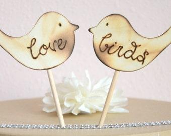 Love birds wedding cake topper- wooden love birds cake topper
