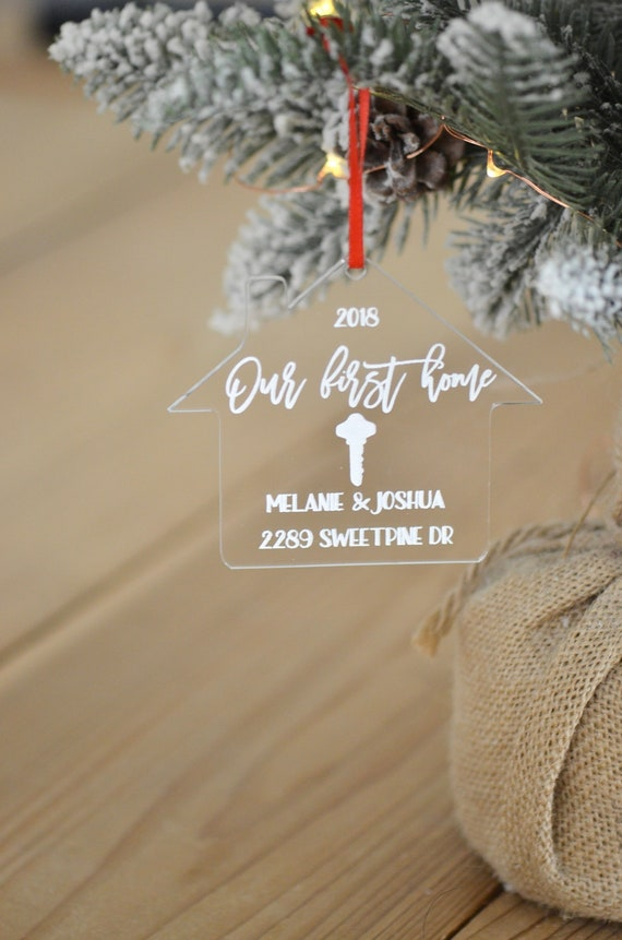 Our First Home Christmas Ornament.Our First Home Christmas Ornament Personalized Acrylic Christmas Ornament New Home Ornament Housewarming Gift Free Gift Box