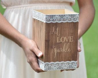 Wedding sparklers holder, let love sparkle, wooden sparklers box, wedding decor