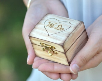 We Do wooden ring bearer box, personalized wedding ring box-