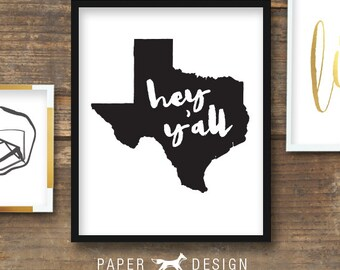 Texas Hey Y'all Gallery Wall Poster Printable