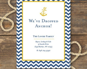 Nautical Anchor Moving Announcement Printable - New Home, New Address - Chevron