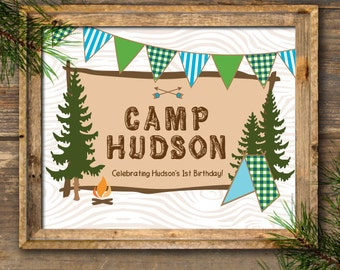 Camp Theme Poster or Sign Printable - Birthday Party Welcome - Rustic