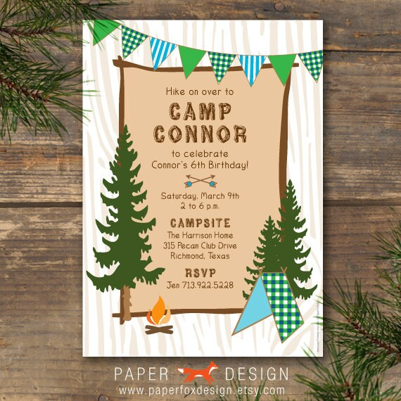 Camping Theme Invitations: Camp Theme Invitation Printable Blue & Green