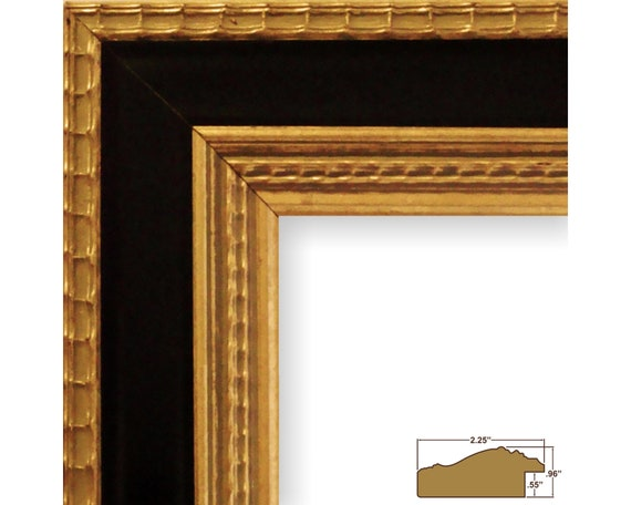 Craig Frames 1.5 Wide Ruskin 83 83351212 Gothic Black and Gold Picture Frame 12x12 Inch