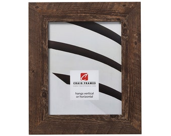 """American Barn, Brown Oak Faux Barnwood Picture Frame, 2"""" Wide, 35 Common Sizes (20277042) Craig Frames Rustic Frame, Modern Farmhouse Style"""