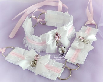 Tug Proof O Ring 2 pcs Kitten Pet Play Cuffs Gloves Jewelry BDSM DDLG Daddys Girl Costume White Baby Pink Bow Cuffs Set Bracelet