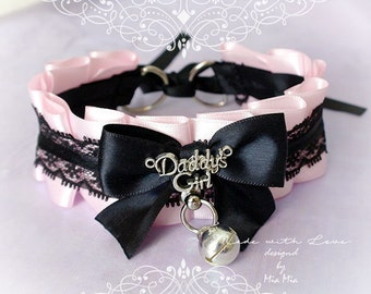 Choker Necklace Kitten Pet Play Collar Tug Proof Pink Satin Black Lace Daddys Girl Bow O Ring Bell Lolita Neko Bdsm Ddlg Steampunk