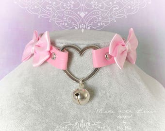 Kitten Pet Play Collar Choker Necklace Pink Faux Leather Heart Bell Bow Choker necklace , BDSM DDLG Kitty play Lolita choker Pastel goth