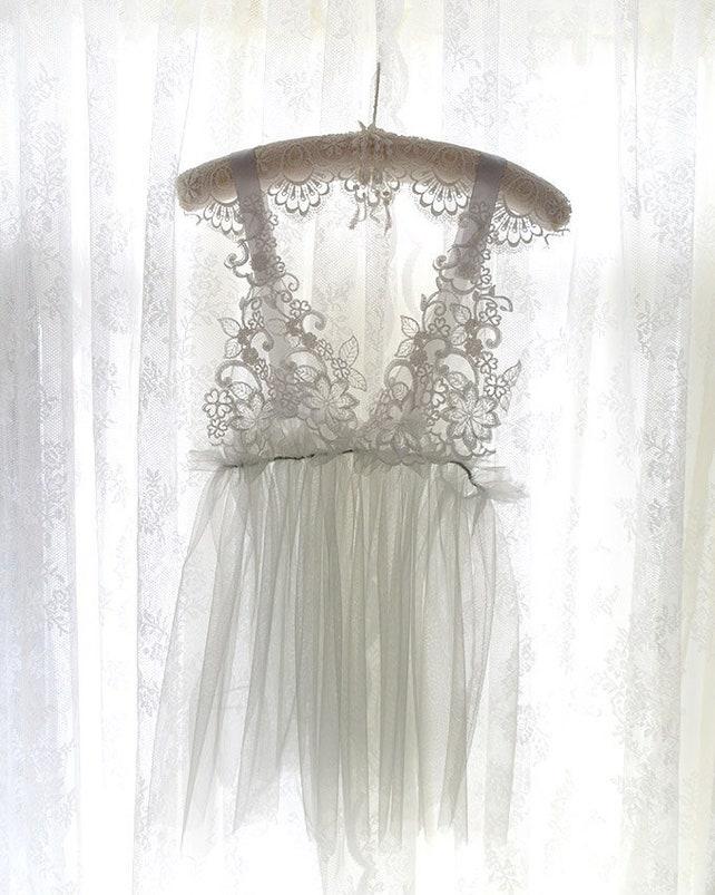 Ballerina Romantic Tunic Gray tulle White Lace Applique Wedding Lingerie Sheer Dress Nightgown Slip Tutu Daddys Girl DDLG Clothing Kawaii