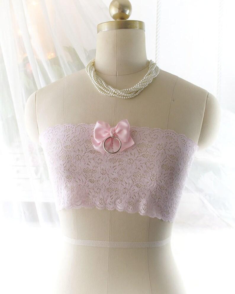 6df3b333de8b4 Light Baby Pink Lace Bow O ring Semi Sheer Tube Crop Top