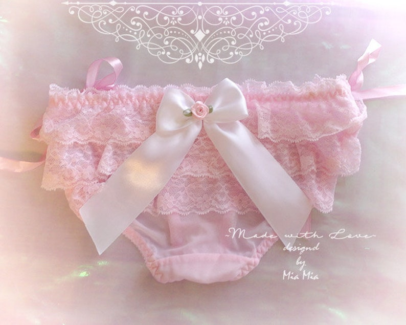 62f8d97f8ab4 DDLG Lingerie Daddys Girl Pink Ruffles Lace White Bow O Ring   Etsy