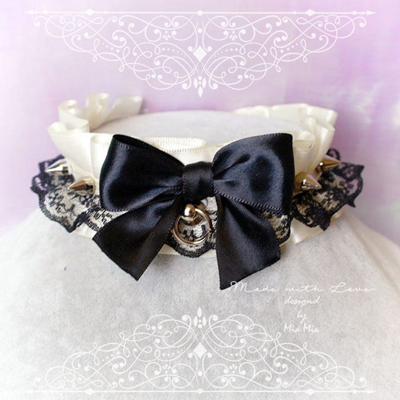 Kitten Play Collar Choker Necklace All Black Satin Lace Bow O Ring Spikes