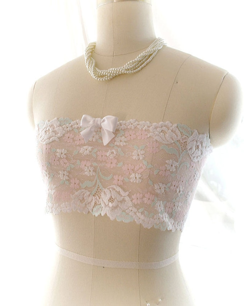 94733f19c3780 Pink Mint White Lace Bow Semi Sheer Tube Crop Top Bandeau