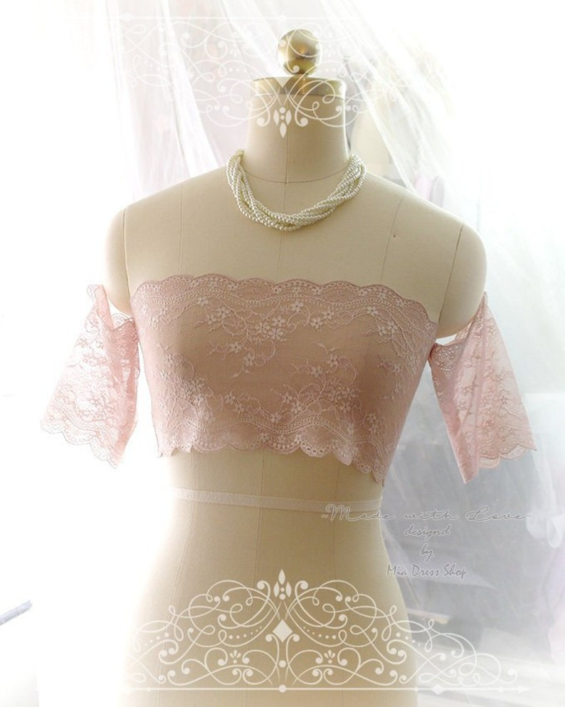 578aba6126 Dusty Pink French Lace Semi Sheer Tube Top Off Shoulder
