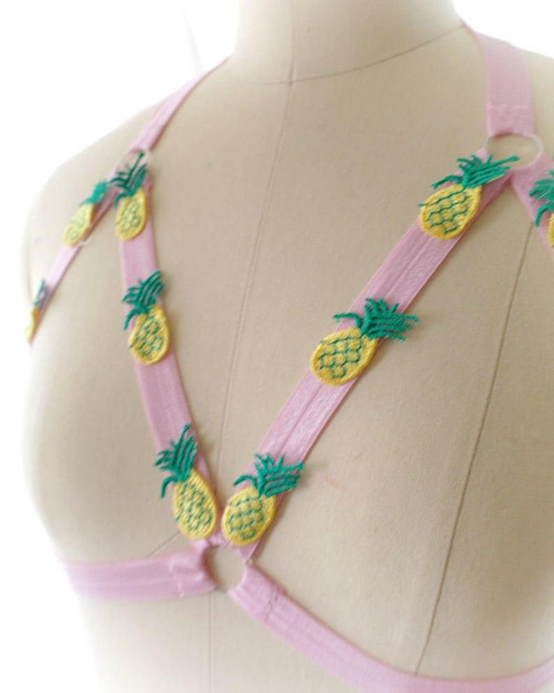 b6033f25b21f33 DDLG Daddys Girl Body Harness Baby Pink Pineapple Cute Stretch