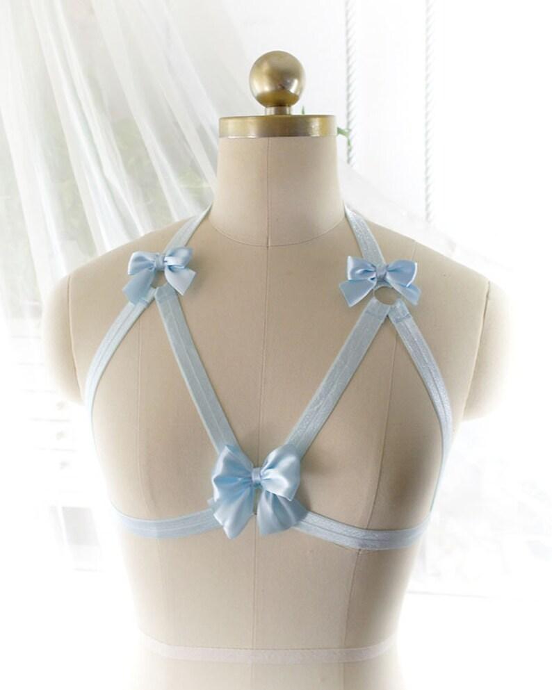 a102912696f64f DDLG Daddys Girl Body Harness Baby Blue Bow Cute Stretch Cage