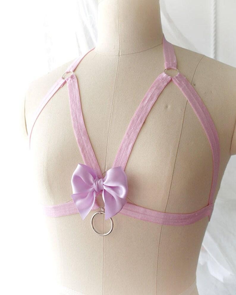 4916ee3f05ffc3 DDLG Daddys Girl Pink Body Harness Purple Bow O Ring Stretch