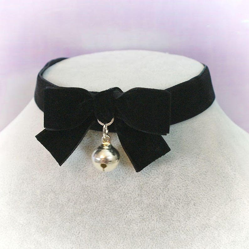 9333216b6b6e9 Choker Necklace black Velvet bow bell neko neck collar , pastel goth gothic  cute steampunk Lolita jewelry