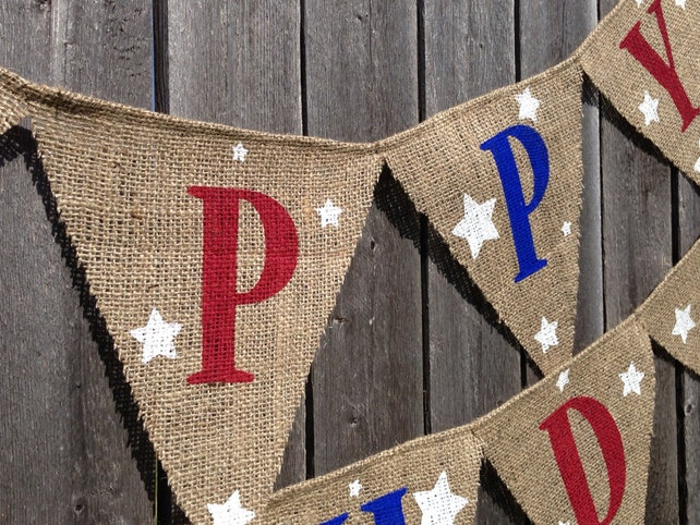 4th OF JULY Birthday Party Patriotic Banner Red White And Blue Decorations BBQ Decor