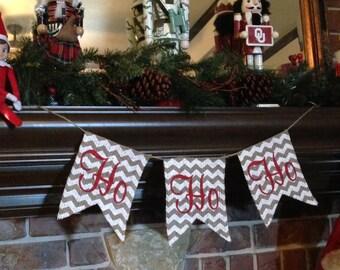 CHRISTMAS BANNER, Holiday Decorations, Ho Ho Ho, Christmas Garland, Christmas Decorations, Holiday Decor, Christmas Gifts, Rustic Christmas