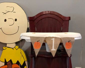 PUMPKIN HIGHCHAIR BANNER, Pumpkin High Chair Banner, Pumpkin High Chair Garland, Pumpkin 1st Birthday, Pumpkin 1st Birthday Banner