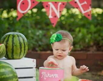 WATERMELON FIRST BIRTHDAY, Watermelon Party, Watermelon Birthday, Summer Birthday Party, Watermelon Banner, Watermelon Birthday Party