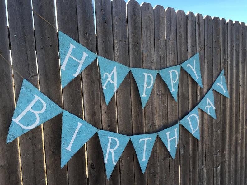 Boy Happy Birthday Burlap Banner  Bunting
