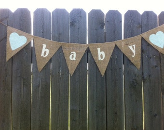 BABY BURLAP BANNER, Burlap Baby Shower, Burlap Baby Shower Decorations, Baby Bunting, Baby Garland, Burlap Baby Shower Banner, Baby Banner