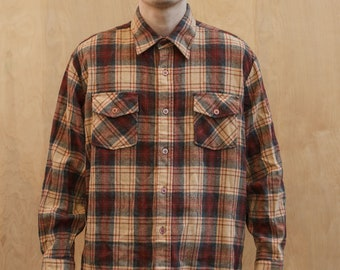 Vintage Flannel Shirt XL by Woolo'The West Brewster Wool Blend Acrylic Brown Beige Plaid XL 70's 80's