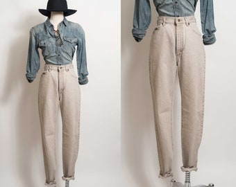 c29c6a34 vtg 28in Lee Riveted High Waisted Mom Jeans Light Sand Stone Beige tapered  leg 28x30