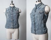 vtg Levi 39 s Denim Vest Sleeveless Denim Jacket Mandarin Collar Collarless Women 39 s S M