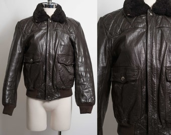 d5a4aa8df2e vtg Leather G1 Bomber Style Jacket Dark Brown by Saturday Generation Men s  XS Women s SMALL