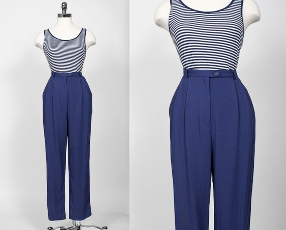 vtg High Waisted Rayon Linen Pants Trousers Pleate