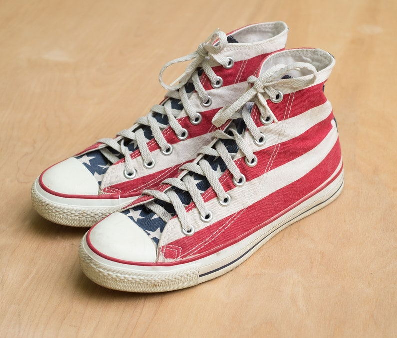 VTG 80S 90S CONVERSE All Star Shoe Men 10.5 Chuck Taylor American Flag USA MADE