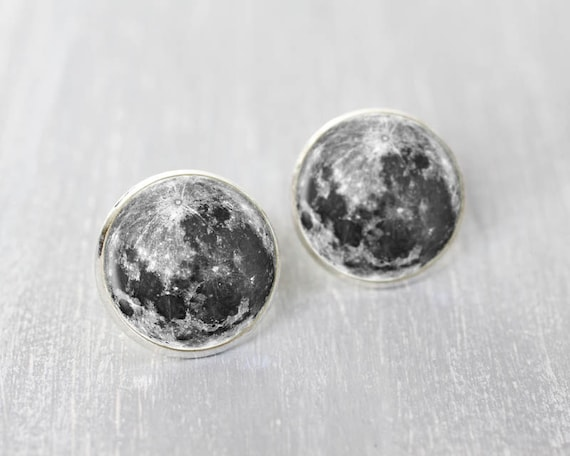 Full moon earrings studs - Cosmic ear posts - Space jewelry - Galaxy, Astronomy