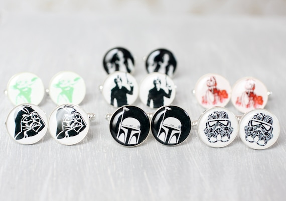Wedding mens cufflinks - set of Groomsmen gifts - Star Wars - Darth Vader, Stormtrooper, Han Solo, Darth Maul, Yoda, Skywalker, Boba Fett
