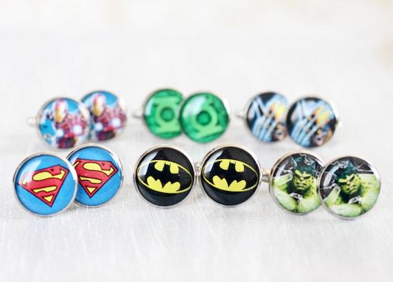 Wedding mens cufflinks - set of Groomsmen gifts - Comic Superhero - Superman, Batman, Green Lantern, Wolverine, The Hulk, Iron Man