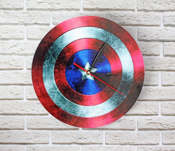 Wall clock - Captain America clock - Comic Superhero - Photo clock - Poster - Personalized Wall Clock