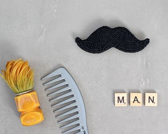 Moustache brooch - Wedding Gifts for Groomsmen - Embroidered Brooch - Textile brooch - Mustache party