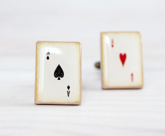 Men Cufflinks - Playing Cards Cuff links for him - Ace of Spades and Ace of Hearts vintage style playing cards