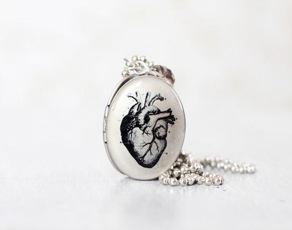 Anatomical Heart Locket Necklace - Brass Antique Anatomy Print Locket Necklace